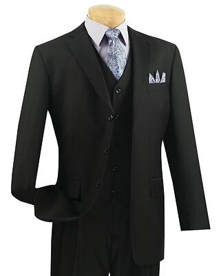 Men's Black 3 Piece 3 Button Classic-Fit Suit w/ Matching Vest NEW