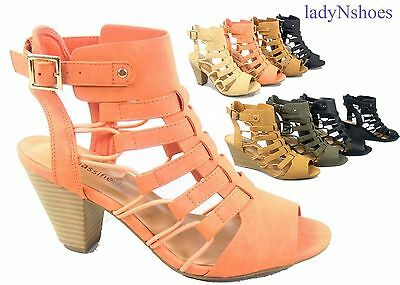 NEW Women's Open Toe Buckle Chunky Heel Gladiator Sandals Shoes Size 5.5 - 11