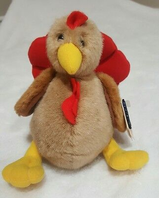 "Applause Harvest Nathaniel Turkey Stuffed Animal Plush  8"" NEW with Tags"