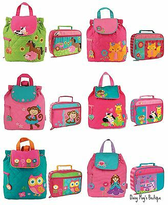 Stephen Joseph Girls Quilted Backpack and Lunch Box for Kids - Cute Book Bags