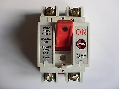 Wylex 810 Double Pole 100 Amp Main Switch Disconnector Isolator 100A Bs5419 Ac21