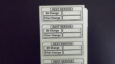 24 x plastic  Peel and Stick service / oil change label stickers