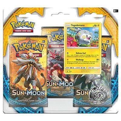 POKEMON TCG Sun & Moon Three Booster Blister Trading Card Game - Togedemaru