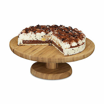 Cake Stand Bamboo Cake Platter Serving Plate Round Wooden Cupcake Stand Holder