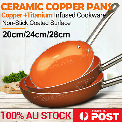 Ceramic Copper Non-Stick Frying Pan Dishwasher & Oven Safe Fry Induction Cookwar