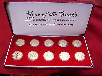 Year Of The Snake Pure Gold 1/10 Perth Mint Coins--10 In Presentation Box