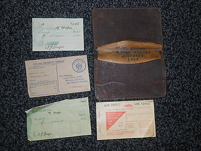 Job Lot.vintage Leather Wallet +Fuel Ration Book/reg.card/2 Receipts Dated`42/45