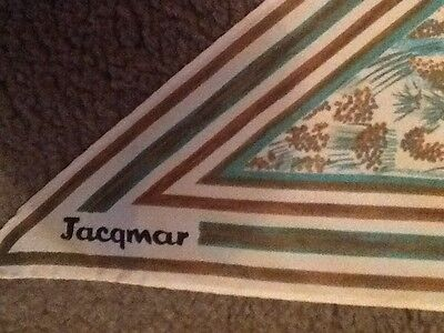 Vintage Jacqmar Triangle Scarf. Hand Rolled. Greens. Great Condition.Rare.