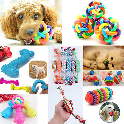 Puppy Pet Dog Colorful Dental Teething Healthy Teeth Chew Training Play Ball Toy