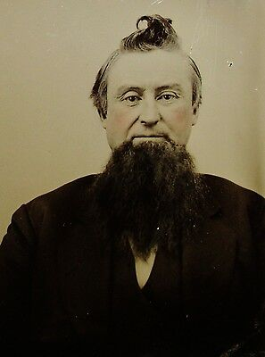 Tintype Photo Dapper Gent Huge Beard & Major Cowlick Hair Great Character Study