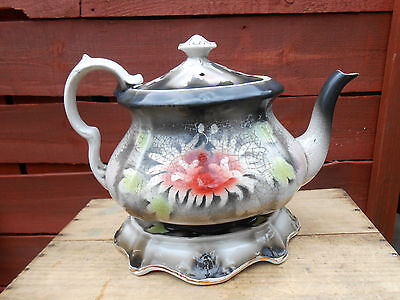 Large Vintage Tea-Pot And Stand.unusual Leaf And Flower Design.circa.1900
