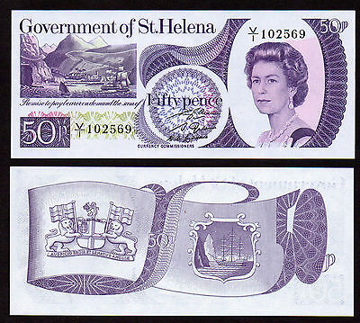 St Helena : 2 piece Banknote set, 50p & £1, both now replaced by coins, both UNC