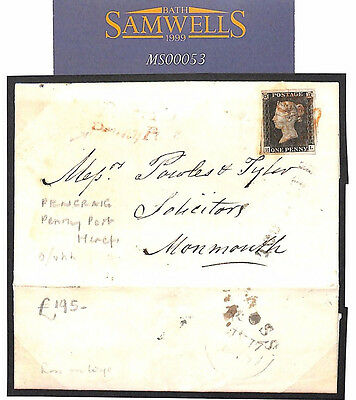 MS53 1840 GB PENNY BLACK *Pencraig Penny Post* Herefs *ROSS*MX Cover Monmouth