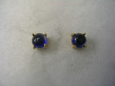 Sapphire Cabachon Earrings In 14Kt Gold 4Mm Round