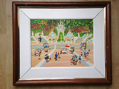 original oil painting naive style Mermaid's Garden Coimbra, by Cabral Faria Maio