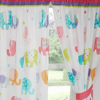 """PATCHWORK ELEPHANTS 66"""" x 54"""" LINED CURTAINS + TIE-BACKS"""