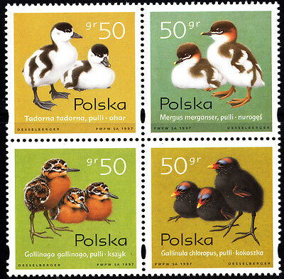 Poland 1997 Young Waterbirds Block of Stamps, MNH