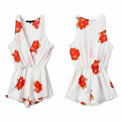 Summer Cool Jumpsuit Women Floral Print Sleeveless V-neck Slim Fit Rompers L