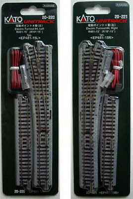Kato 20-220 20-221 #4 Left & Right Turnout with 481mm 15º Radius Curve (N scale)