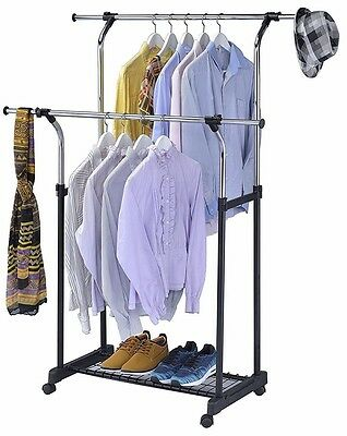 Commercial Chrome Double Rail Clothing Garment Rolling Collapsible Rack Hanger