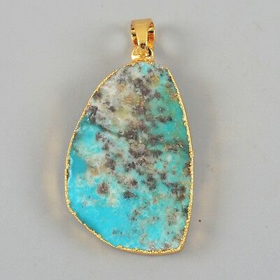 Natural Genuine Turquoise Pendant Bead Gold Plated H80903