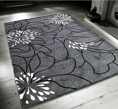 New Blossom Grey Black White Extra Large Quality Home Rug 160x230cm RRP £119.99