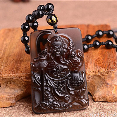 Natural Black Obsidian Hand Carved duke Lucky Pendant Rope Necklace Jewelry