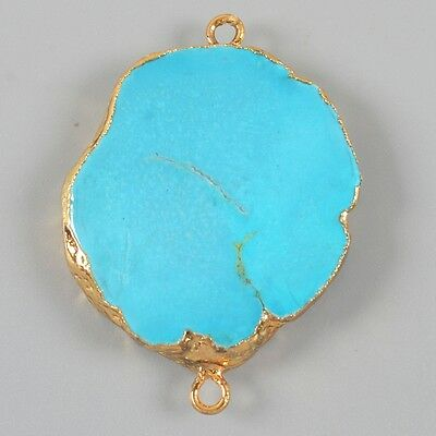 Blue Howlite Turquoise Connector Gold Plated B022959