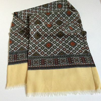 Mens VINTAGE WOOL SCARF Paisley Geometric Patterned Hipster Retro 70's Mod