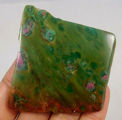 160 Cts . 100% NATURL RUBY ZOISITE SLICE ROUGH LOOSE CAB GEMSTONE(R21)
