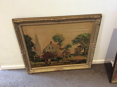 Rare Anthony Thieme 1940s Frame Brushed Art Painting In Old Frame