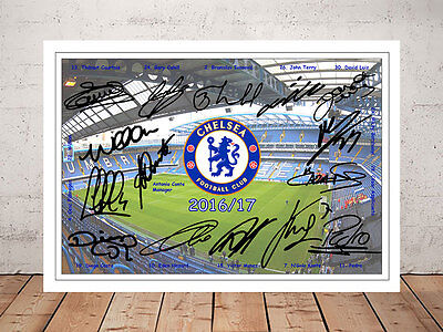 Diego Costa Chelsea Fc 2017 Team Signed Autographed Photo Print