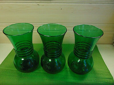 Bulb Vases Forcing Emerald Green Ribbed Lot of 3 Matching