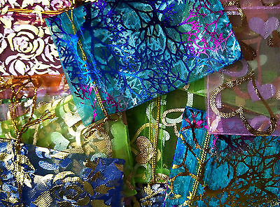 "Over 100 Assorted Organza Bags  3"" tall   Weddings, Jewelry etc."