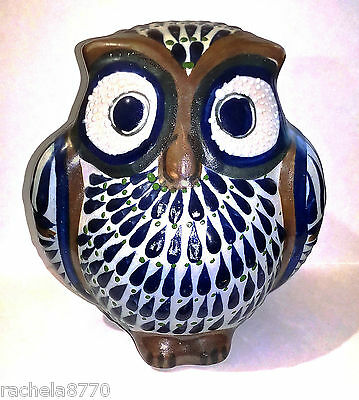Large, Pottery, Hand-Enamelled Owl