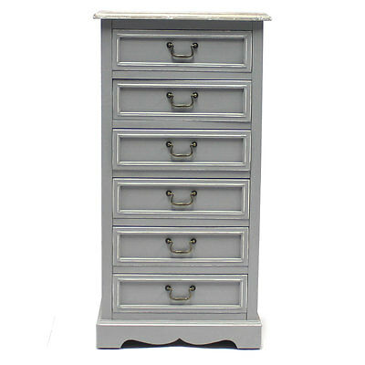 Charles Bentley Grey Loxley Vintage Solid Wood Chest Of Drawers 6 Drawer Tallboy