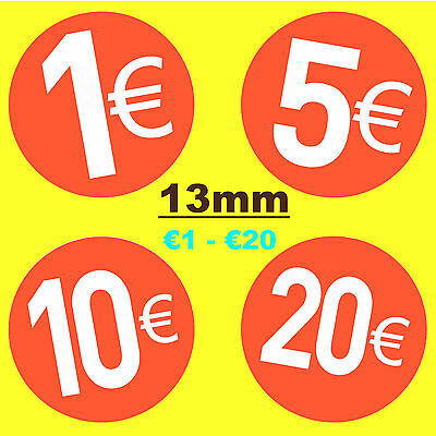 13mm Bright Red Euro € Price Point Stickers / Sticky Labels -  Swing Tag Labels