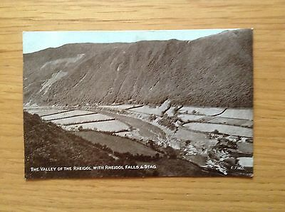 Postcard of THE VALLEY OF THE RHEIDOL WITH FALLS AND STAG. Dainty Series 1908 GC