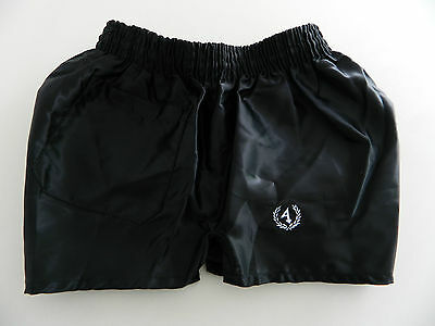 Shiny Vintage Satin Black Attack Glanz Nylon Sports Beckenbauer Shorts Size:160