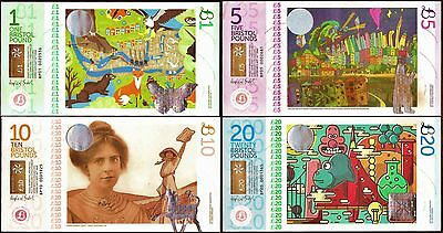 England/ Bristol : Complete 4 piece set of the Latest Bristol Banknotes, all UNC