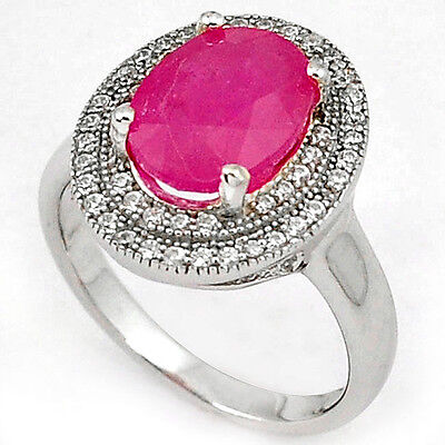 Natural red ruby topaz 925 sterling silver ring jewelry size 8 h53249