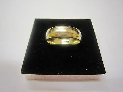 SOLID 9Carat WHITE & YELLOW GOLD 6 MM WEDDING BAND RING SIZE R HALLMARKED BOXED