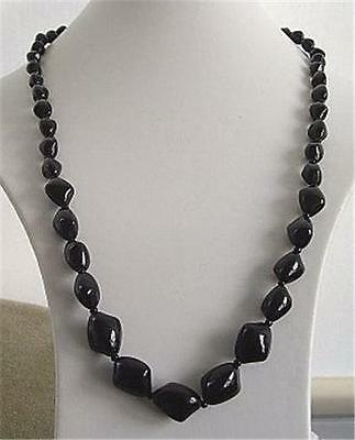 """Chunky 1940's Vintage Black 3 Sided Bead Necklace 26"""""""