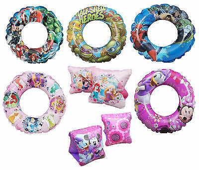 CHARACTER Inflatable Kids Swim Ring & Armbands Float Swimming Pool Ring Holiday