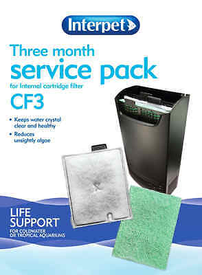 CF3 Aquarium Cartridge Filter Replacement Kit Interpet 3 Month Service Pack