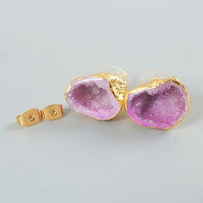Uneven Hot Pink Agate Druzy Geode Cave Stud Earrings Gold Plated H83827