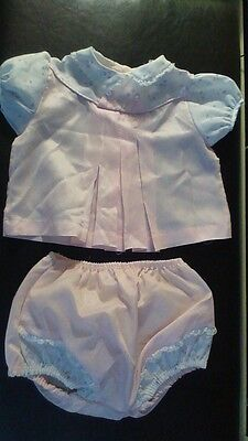 PEMAE Creations Vintage Pink Cotton Infant Baby Dress & Plastic lined Panties