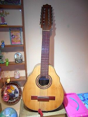 Vintage Spanish Laud Cittern Lute 12 String Guitar Instrument + Mother of Pearl