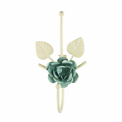Large Rose with Petals Curtain Tie Back Hooks Metal Cream / Duck Egg (Pack Of 2)