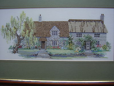 """Completed Cross Stitch Fully Framed/Mounted Country Cottages.Frame 19.5"""" x 12"""""""
